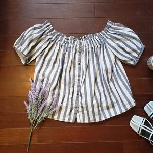Zara - Striped Off Shoulder Button Up Top